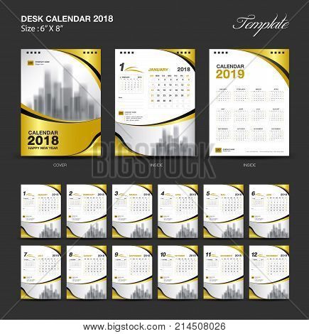 Set Desk Calendar 2018 template design, gold cover, Set of 12 Months, Week start Sunday