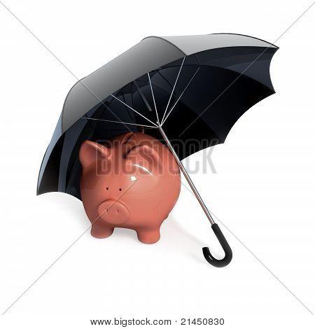 Piggy bank under umbrella