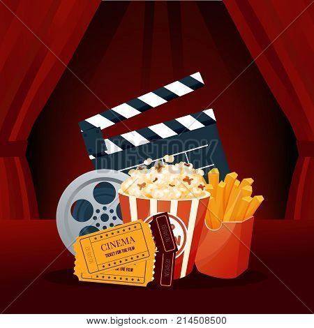 Cinema, movie time, concept. Cinema movie theater object on curtain background. Show with seats, popcorn, filmstrip, tickets. Vintage retro colors vector illustration isolated.