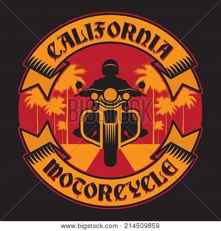 Biker riding a motorcycle label or stamp with text California Motorcycle. Bikers event or festival emblem. Vector illustration