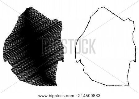 Swaziland map vector illustration , scribble sketch Swaziland