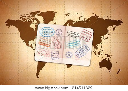 Open foreign document with international visa stamps on ancient world map on old textured paper