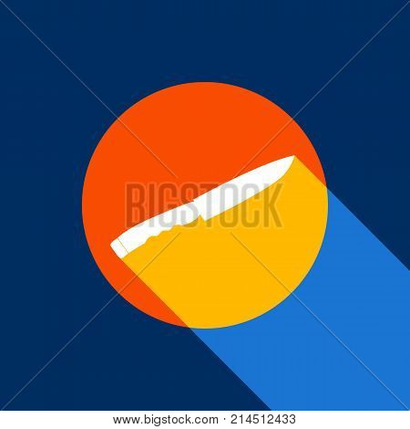 Knife sign. Vector. White icon on tangelo circle with infinite shadow of light at cool black background. Selective yellow and bright navy blue are produced. poster
