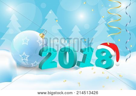 2018 Happy New Year Background for Greetings Card or Christmas themed invitations. Including nambers, ball, santa claus cap and others elements with snow.