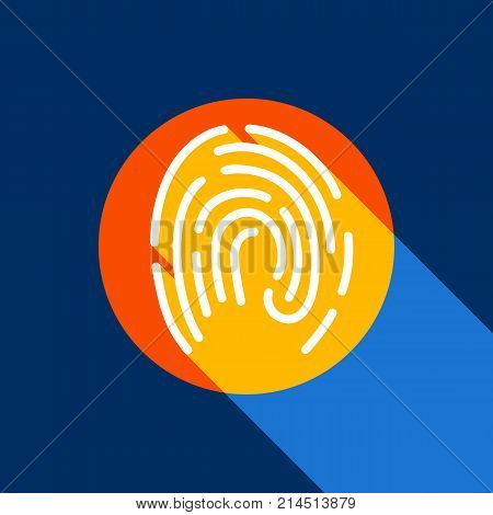 Fingerprint sign illustration. Vector. White icon on tangelo circle with infinite shadow of light at cool black background. Selective yellow and bright navy blue are produced. poster
