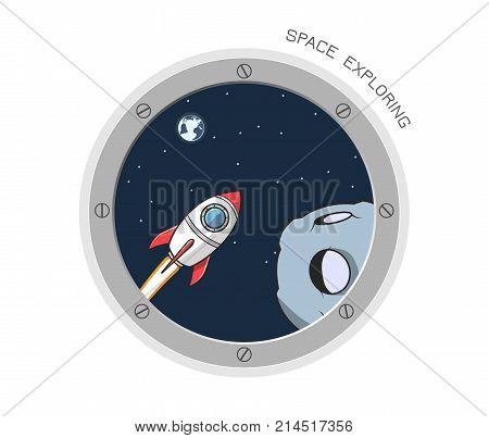 View from spaceship. Cartoon illustration of flight window, stars, earth, asteroid. Outer space. Vector porthole.