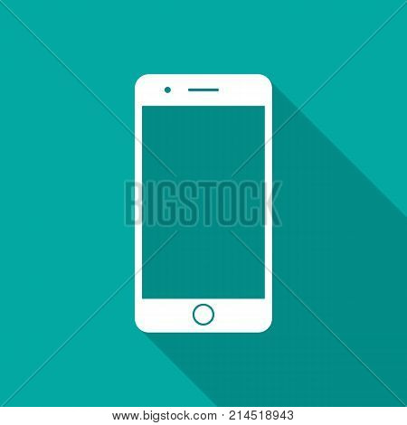 Mobile phone icon with long shadow. Flat design style. Smart phone simple silhouette. Modern minimalist icon in stylish colors. Web site page and mobile app design vector element.
