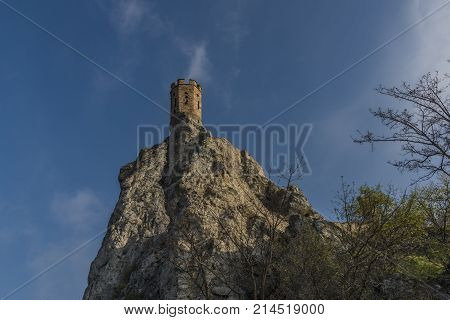 Tower of Devin castle in Slovakia in autumn nice blue sky day
