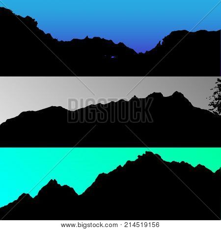 Set of vector hills and mountain landscape silhouette. Realistic trees, woods on hill silhouettes on night and evening sky. Outdoor environmental nature scene.