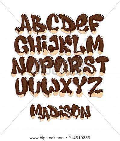 Chocolate Melting Typeset sweet alphabet vector illustration