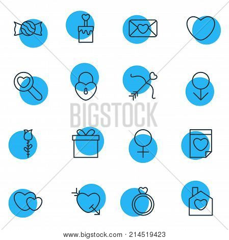 Vector Illustration Of 16 Love Outline Icons. Editable Set Of Lock, Woman, Soul And Other Elements.