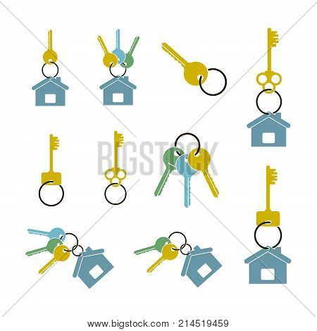 colored badges in the form of keys and keychain set isolated