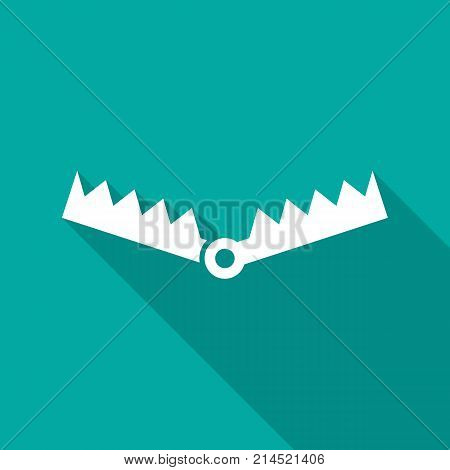 Trap icon with long shadow. Flat design style. Trap simple silhouette. Modern minimalist icon in stylish colors. Web site page and mobile app design vector element.