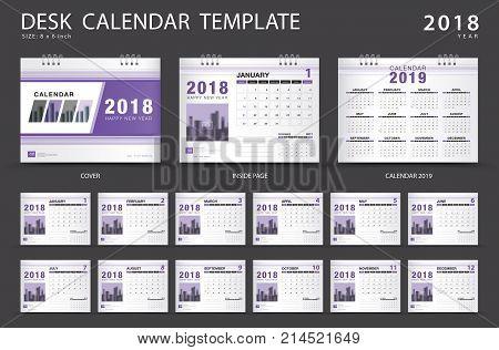 Desk calendar 2018 template. Set of 12 Months. Planner. Week starts on Sunday. Stationery design. advertisement. Cover Vector layout.