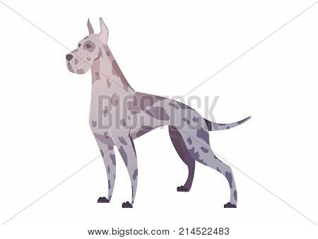 German dog in the style of cartoon. The illustration can be used in a children's book.