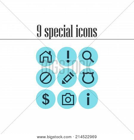 Vector Illustration Of 9 Interface Icons. Editable Set Of Money Making, Snapshot, Info And Other Elements.