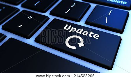Update sign and icon on a computer keyboard 3D illustration.