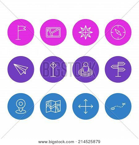 Vector Illustration Of 12 Navigation Outline Icons. Editable Set Of Origami, Place, Orientation And Other Elements.