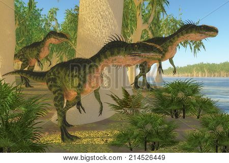 Monolophosaurus Dinosaurs 3d illustration - A group of Monolophosaurus dinosaurs come to a shore to drink and watch for prey in the Jurassic Period.