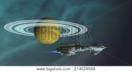 Space Frigate Freighter 3d illustration - A spaceship hauls freight from an outpost colony on one of Saturn's moons in the future of space travel.
