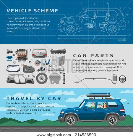 Car repair auto service vector mechanic garage worker career infographic concept. Motorcar parts and happy family vehicle automobile travel illustration.
