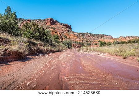 Dry creek bed in Palo Duro Canyon state park near Amarillo Texas.