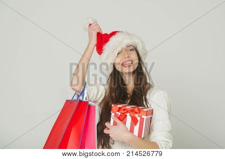 Christmas Woman With Happy Face.