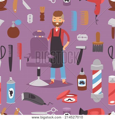 Barbershop hairdresser beard hipster man vector character making haircut saloon tools beauty barber shop hair care accessories flat design illustration. Modern stylist seamless pattern background