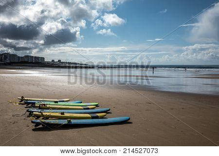 Surfboards on the beach of Les Sables d'Olonne (Vendee, France)