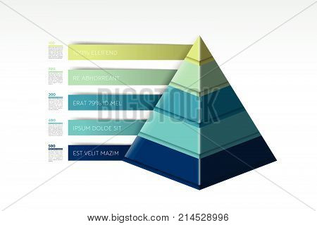 Pyramid infographic triangle chart scheme diagram template.