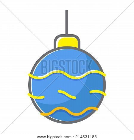 Christmass ball icon. Flat line christmass ball vector icon for web isolated on white background