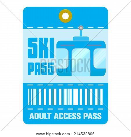 Ski pass icons set. Flat Ski pass template vector icons for web isolated on white background