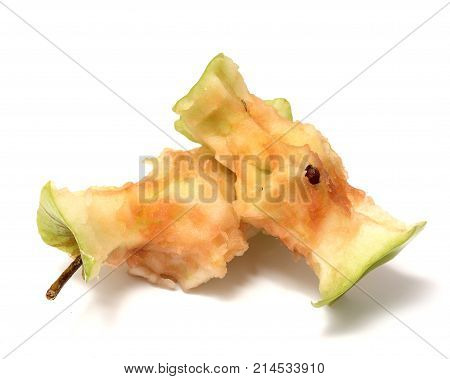 two green apple stub isolated on white background