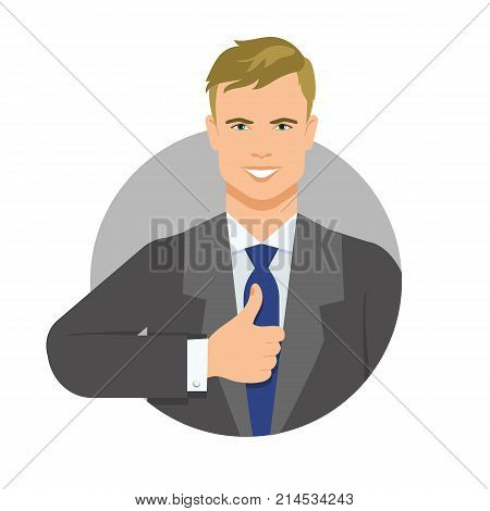 Vector icon of smiling young businessman wearing formalwear showing thumb up. Businessman, leader, success. People concept. Can be used for information boards, posters, brochure