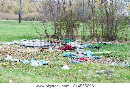 Garbage dump on the grass near the forest ecological disaster concept polluting nature and city park with litter