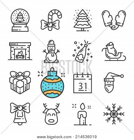 Vector black line Christmas and New Year icons set. Includes such Icons as Snowman, Mittens, Snow, Gift, Fireplace. Pictogram