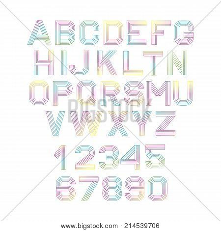 Vector Linear Font. Alphabet Multicolored Lines. Simple And Minimalist Alphabet In Mono Line Style.d