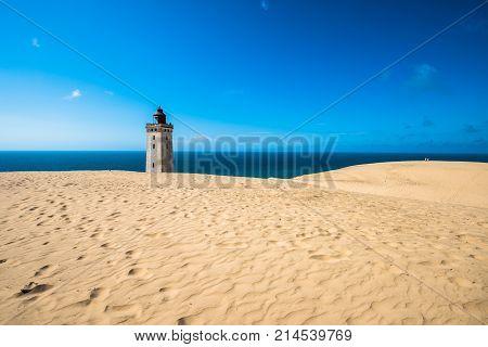 Abandoned Rubjerg Knude Lighthouse And Sand Dunes, North Sea Coast, Denmark