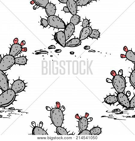 Prickly Pear vector seamless pattern. Opuntia ficus indica sketch. Prickly pear cactus with ripe fruits, two plants set. Hand drawn illustration in stylish color palette.