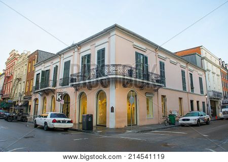NEW ORLEANS - JUN. 2, 2017: Historic Buildings at the corner of Royal Street and Conti Street in French Quarter in New Orleans, Louisiana, USA.