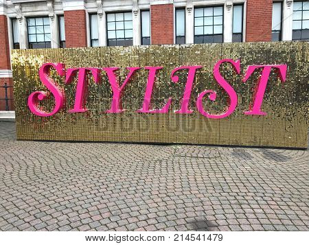LONDON UNITED KINGDOM - November 11 2017: Sign for Stylist Live show in Olympia London. A show with stands bringing everything from Stylist magazine to life.