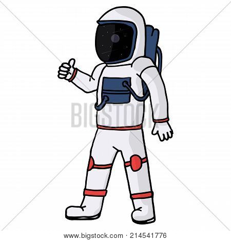 Vector image of an astronaut. The character is in a spacesuit. The reflection of the cosmos.