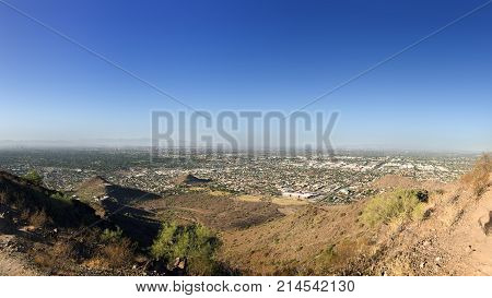 North-West part of Phoenix Metro between Central Avenue and Peoria Road as seen from the top of North Mountain Park hiking trails