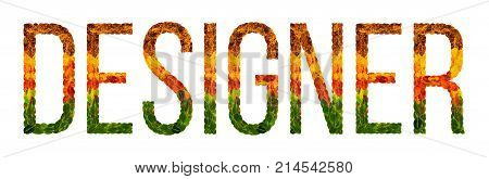 designer word is written with leaves white isolated background, banner for printing, creative illustration designer colored leaves.
