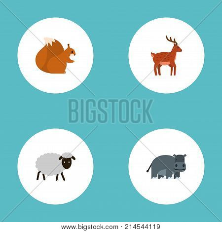 Flat Icons Mutton, Hippopotamus, Moose And Other Vector Elements
