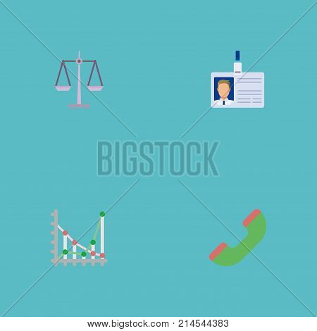 Flat Icons Libra, Diagram, Telephone And Other Vector Elements