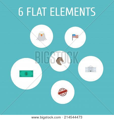 Flat Icons America, Stamp, Greenback And Other Vector Elements