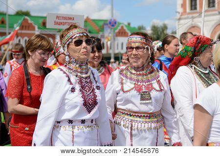 Yoshkar-Ola Russia - June 25 2016 Women in national Mari dresses at the Peledysh Payrem holiday in Yoshkar-Ola Russia
