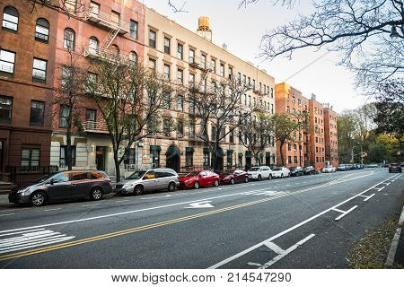 Generic manhattan uptown Upper West Side street with buldings in New York City