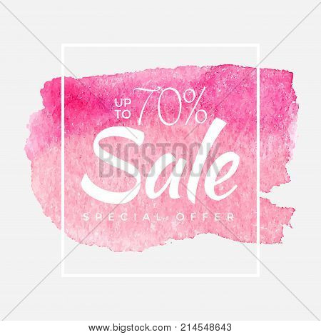 Sale final up to 70 off sign over art brush acrylic stroke paint abstract texture background poster vector illustration. Perfect watercolor design for a shop and sale banners.